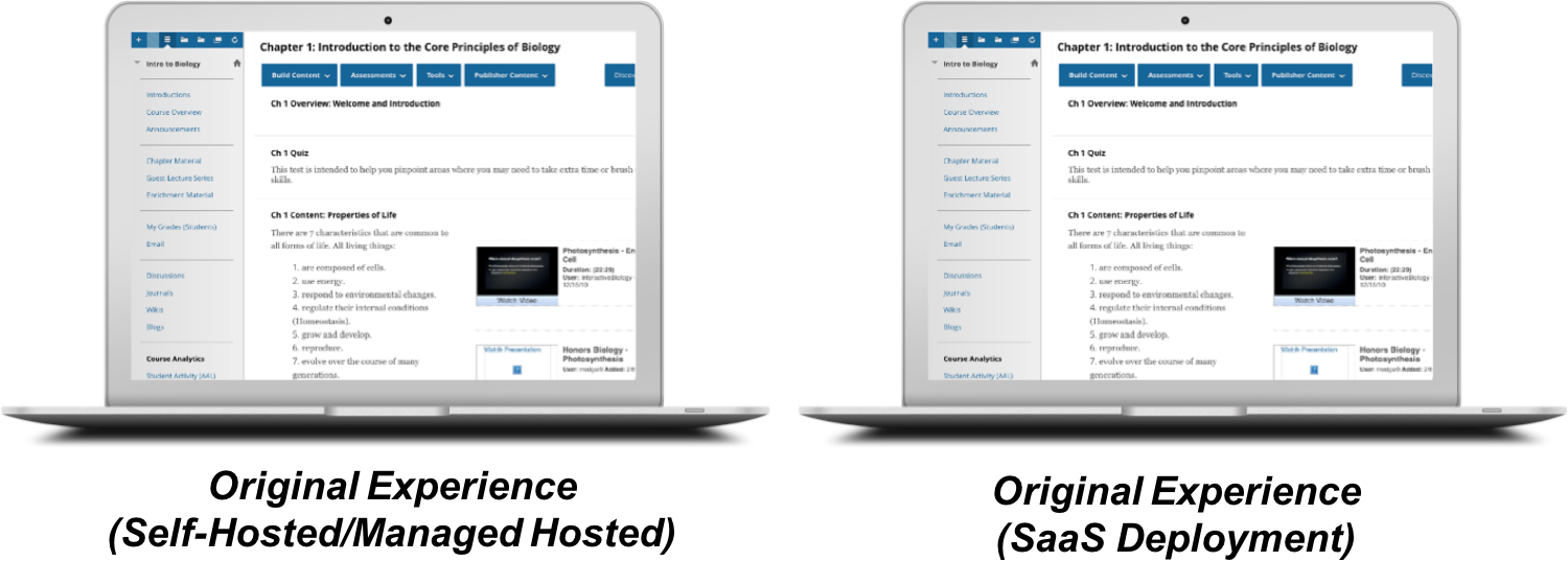 A comparison of the Ultra experience and the Original experience for Blackboard Learn